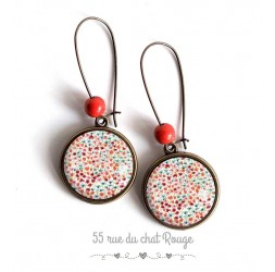 Earrings, Small flowers poppies, orange and green tones soft, bronze