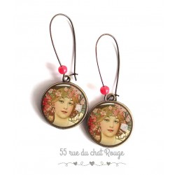 Earrings, Art of Painting Muchas Alfonse, Female, pink and beige, bronze