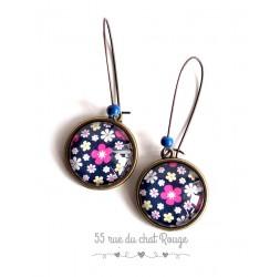 Orecchini, Piccoli fiori colori rosa, fucsia, blu scuro, bronzo