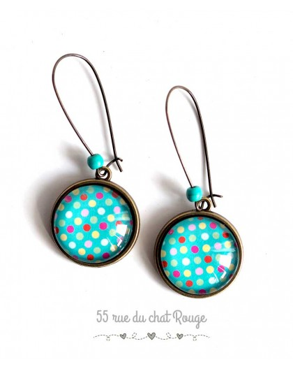 Earrings, peas multicolor, turquoise, bronze