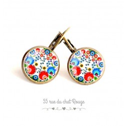 Boucles d'oreilles, esprit Folklore russe, rouge et bleu, bronze