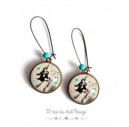 Boucles d'oreilles,  Pin-up année 60, noir et blanc, étoiles turquoise, bronze