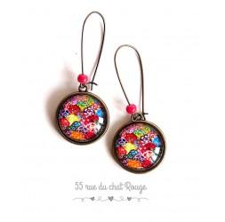 Boucles d'oreilles, seigaiha multicouleur, inspiration Japon, bronze