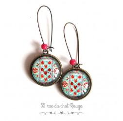 Boucles d'oreilles, inspiration tissus Hindou, esprit bohême turquoise et rouge, bronze