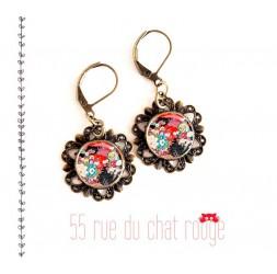 Boucles d'oreilles, motif Japonais, floral, rouge et noir, look rétro bronze