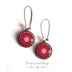 Boucles d'oreilles,  Mantra, Mandala, rose et rouge, bronze
