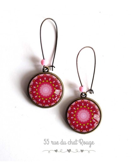 Earrings, Mantra Mandala pink and red, bronze