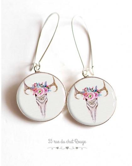 Earrings, Boho chic, bohemian spirit, pastels, cabochon epoxy resin