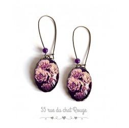 Boucles d'oreilles, Bouquet de roses, violet et noir, ovale, bronze