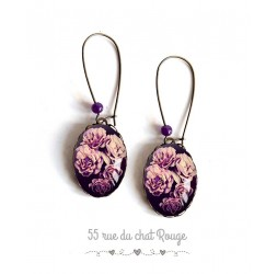 Earrings, Bouquet of Roses, purple and black, oval, bronze