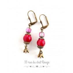 Pendientes de bronce rojo rosa