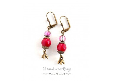 Earrings for pink Red bronze