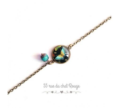 bracelet fine chaîne, papillon bleu turquoise