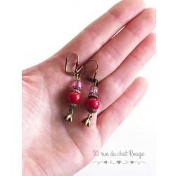 Boucles d'oreilles pendant, Rouge rose, bronze