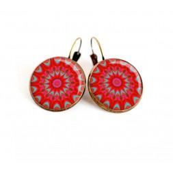 Boucles d'oreilles, Mandala, rosace, fushia, rouge et turquoise, bronze