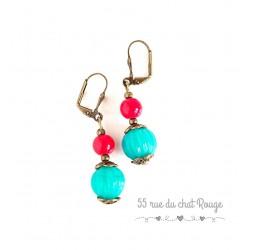 Ohrringe für indische Perle, Türkis und Rot, Bronze