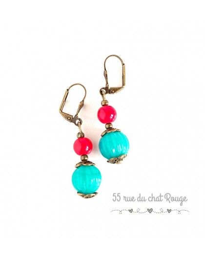 Earrings for Indian pearl, turquoise and red, bronze