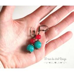 Pendientes de perlas de la India, turquesa y rojo, bronce