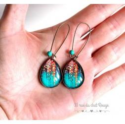 Boucles d'oreilles gouttes, Bleu turquoise, paillette, rose gold, bronze