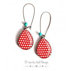 Boucles d'oreilles gouttes, look 60's, petit pois blanc fond rouge, bronze