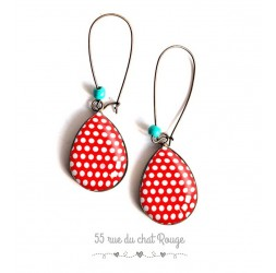 Earrings drops 60s look, pea red white background, bronze