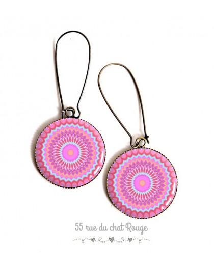 Earrings, Mandala, pink and blue pastel hues, cabochon epoxy resin, bronze