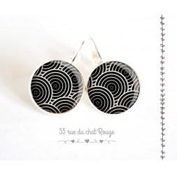 Boucles d'oreilles, seigaiha noir et blanc, esprit Japon, argentée, bijoux pour femme