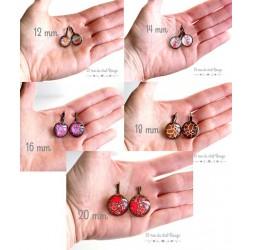 Orecchini, piccolo fiore rosso e acqua ragia Giappone, argento, gioielli della donna
