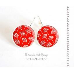 Boucles d'oreilles, petite fleur rouge et blanc, esprit Japon, argentée, bijoux pour femme