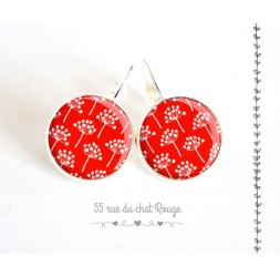 Earrings, small flower red and white spirit Japan, silver, woman's jewelry