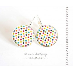 Earrings, stars in multicolor, silver, woman's jewelry