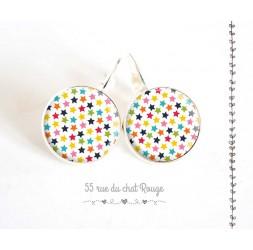 Orecchini, le stelle in multicolor, argento, gioielli della donna