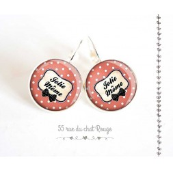 Earrings, Message Jolie Mome, old pink and beige, woman's jewelry