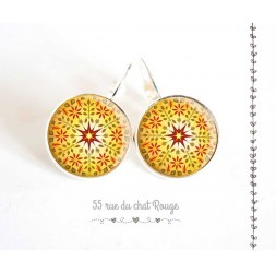 Earrings, yellow mandala, sun, red, Zen spirit, woman's jewelry