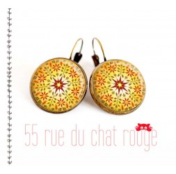 Earrings, yellow mandala, sun, red, Zen spirit, jewelery for women, bronze