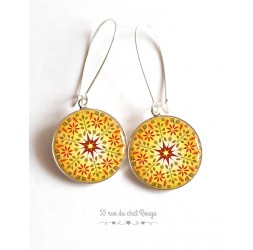 Earrings, yellow mandala, sun, red, Zen spirit, cabochon epoxy resin, silver