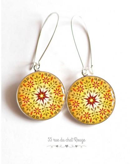 Earrings, yellow mandala, sun, red, Zen spirit, cabochon epoxy resin, silver