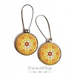 Earrings, yellow mandala, sun, red, Zen spirit, cabochon epoxy resin, bronze