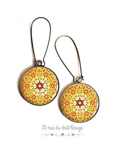Earrings, yellow mandala, sun, red, Zen spirit, cabochon epoxy resin, bronze