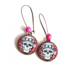 Earrings, Gothic Ghost skull, fuchsia flower pattern, bronze