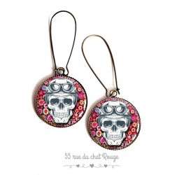 Earrings, Gothic Ghost skull, pattern floral fuchsia cabochon epoxy resin, bronze