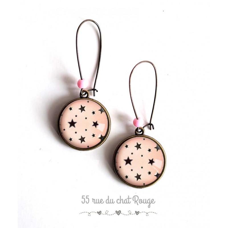Earrings, Little Stars, pink background, jewelry for women bronze