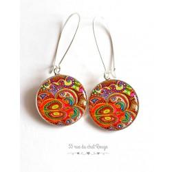 Pendientes Paisley inspiración India, multicolor, naranja, resina epoxi, plata