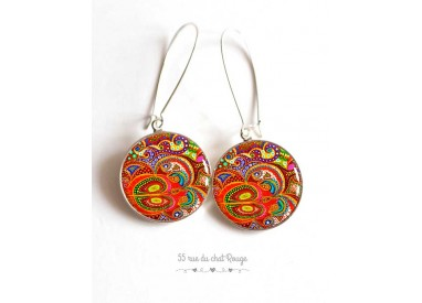 Earrings paisley inspiration India, multicolor, orange, epoxy resin, silver