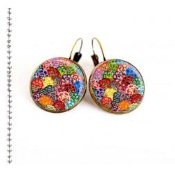 Boucles d'oreilles, Vagues japonaise, multicouleur, bijoux pour femme, bronze
