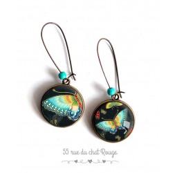 Boucles d'oreilles, Papillon bleu turquoise, asymétrique, bijoux pour femme, bronze