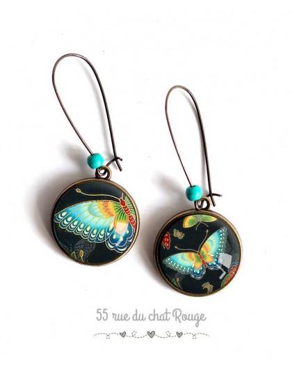 Earrings, turquoise butterfly, asymmetrical, jewelry for women bronze
