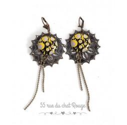 Aretes, largo de japón mente, joyas de flores de color amarillo y negro para las mujeres de bronce