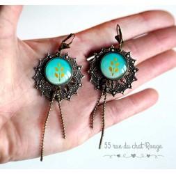 Boucles d'oreilles, Long pendant, esprit japon, fleur jaune et noir, bijoux pour femme, bronze