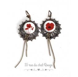 Boucles d'oreilles, Long pendant, jolie coquelicot rouge et blanc, bijoux pour femme, bronze